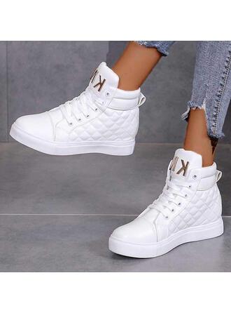 Mulheres PU Sem salto Bota no tornozelo Toe rodada com Aplicação de renda Cor sólida sapatos