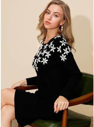 Print/Floral Long Sleeves Bodycon Knee Length Casual/Elegant Dresses