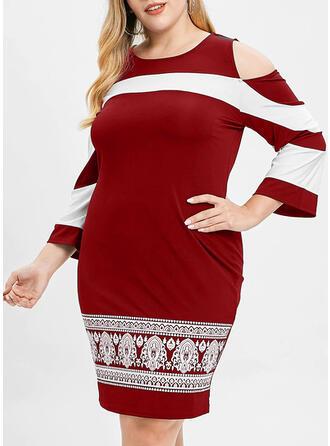 Print 3/4 Sleeves/Cold Shoulder Sleeve Bodycon Knee Length Casual/Elegant/Plus Size Dresses