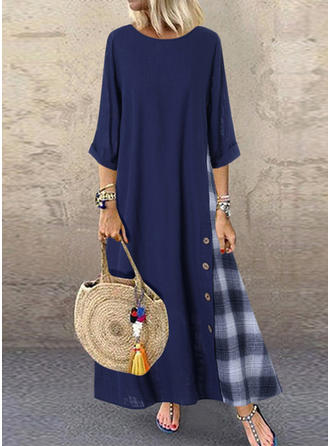 Plaid 3/4 Sleeves Shift Maxi Casual Dresses