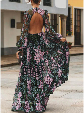 Print/Floral Long Sleeves A-line Skater Sexy/Party/Vacation Maxi Dresses