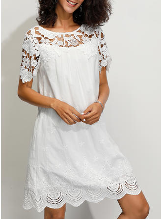 Lace/Solid 1/2 Sleeves Shift Above Knee Casual/Party/Elegant Dresses