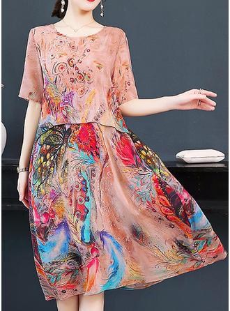 Print/Floral 1/2 Sleeves Shift Knee Length Casual/Elegant Dresses