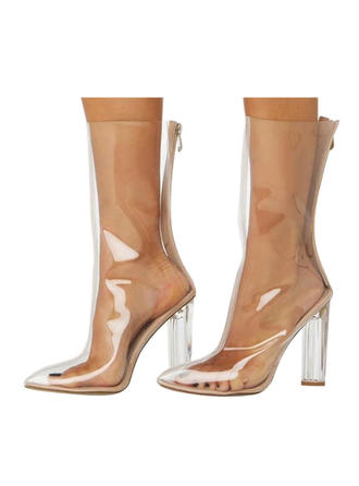 Women's Leatherette Chunky Heel Mid-Calf Boots With Zipper shoes