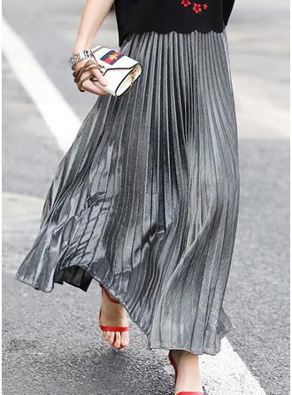 Mélange de coton Couleur unie Maxi Jupes plissées