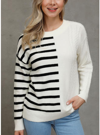 Striped Round Neck Sweaters
