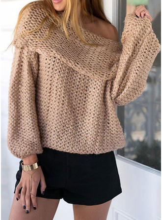 Knit Off the Shoulder Plain Sweater