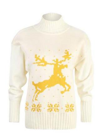 Polyester Col Roulé Inmprimé Gros tricot Chandail de Noël moche