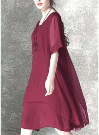 Couleur Unie Manches 1/2 Droite Longueur Genou Petites Robes Noires/Décontractée/Élégante Robes