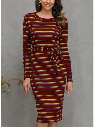 Striped Long Sleeves Bodycon Midi Casual Dresses
