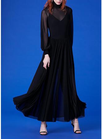 Couleur Unie Manches Longues Trapèze Maxi Petites Robes Noires/Décontractée/Élégante Robes