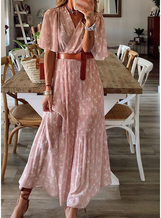 Print/Floral 1/2 Sleeves/Flare Sleeves A-line Casual Maxi Dresses