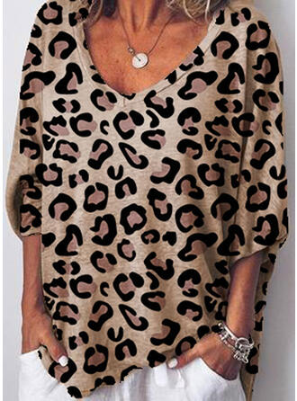 Animal Print V-neck 3/4 Sleeves Casual Knit Blouses