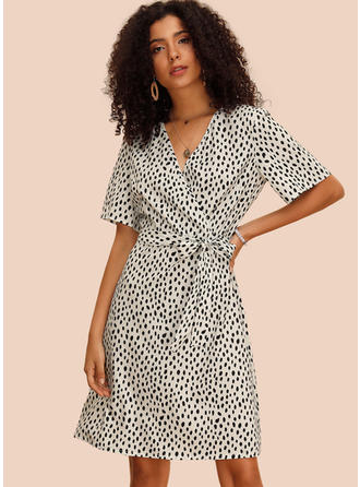 PolkaDot 1/2 Sleeves A-line Knee Length Casual/Elegant Dresses