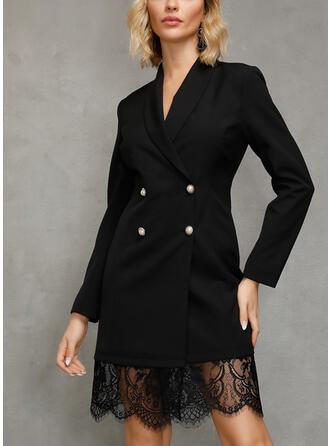 Dentelle/Couleur Unie Manches Longues Fourreau Au-dessus Du Genou Petites Robes Noires/Élégante Robes