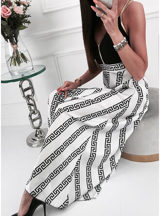 Print/Backless Sleeveless A-line Slip/Skater Casual Maxi Dresses