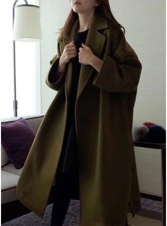 Woolen Long Sleeves Plain Trench Coats