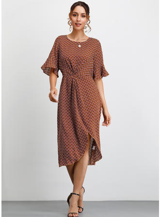 Geometric Print 1/2 Sleeves/Flare Sleeves A-line Midi Casual/Vacation Dresses
