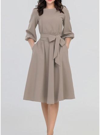 Long Sleeves A-line Knee Length Vintage/Casual/Elegant Dresses