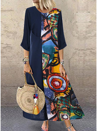 Print 3/4 Sleeves Shift Maxi Casual Dresses