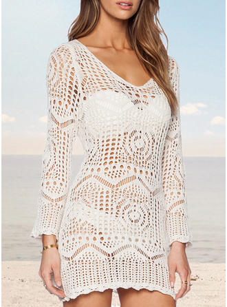 Solid Color Print Round Neck Elegant Cover-ups Swimsuits