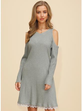 Solid Cold Shoulder Sleeve A-line Knee Length Casual Dresses
