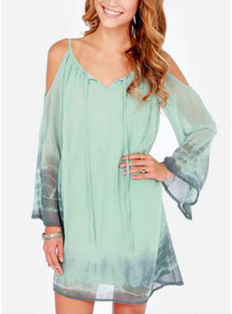 Print Cold Shoulder Sleeve Shift Above Knee Casual/Boho/Vacation Dresses