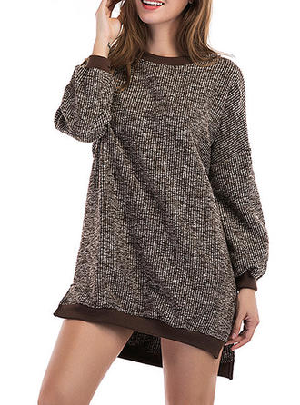 Polyester Col rond Couleur unie Gros tricot Robe Pull