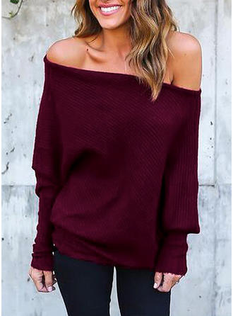 Couleur unie Off the Shoulder Pulls