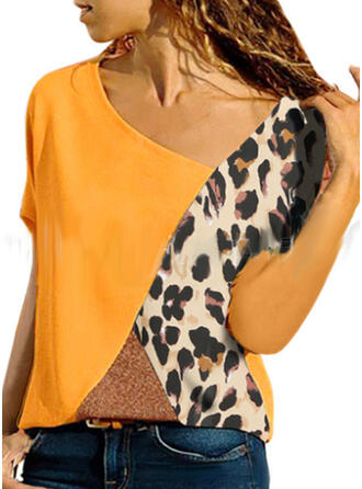 Animal Print Patchwork Short Sleeves Casual T-shirts