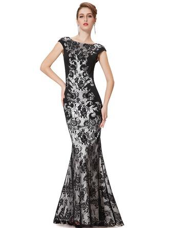 Lace Short Sleeves Sheath Maxi Dresses