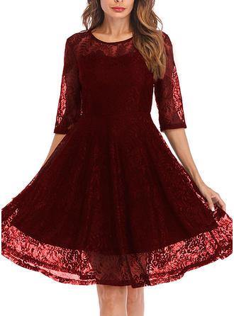Lace 1/2 Sleeves A-line Knee Length Vintage Dresses