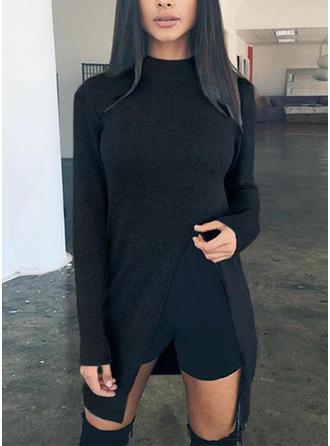 Poliester Wycięcie pod szyją Jednolity kolor Swetry