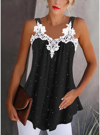 Lace Print V-Neck Sleeveless Tank Tops