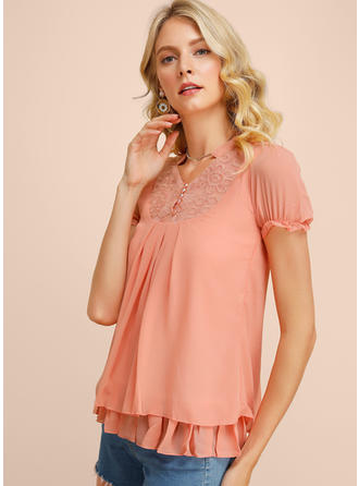 Solid Floral Lace V Neck Short Sleeves Button Up Casual Blouses