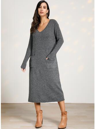 Solid Kabelsticka V-ringning Tröja klänning