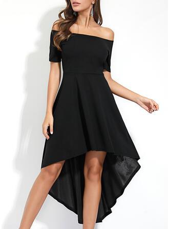 Solid Short Sleeves A-line Asymmetrical Little Black/Party/Elegant Dresses