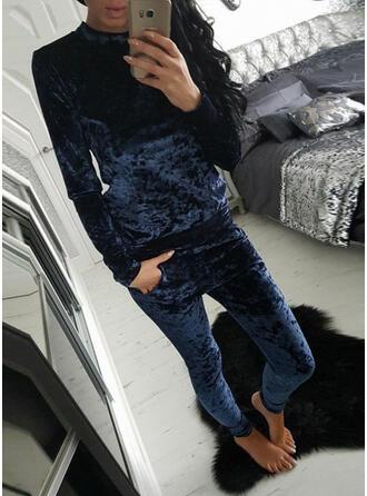 Gola Redonda Manga Comprida Cor sólida Attractive Conjuntos de calças e tops