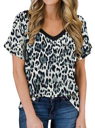 Leopard V-Ausschnitt Kurze Ärmel Freizeit T-shirts