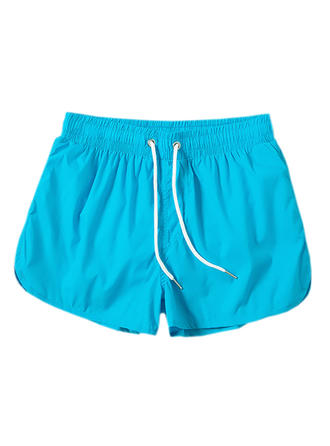 Men's Solid Color Lined Swim Trunks