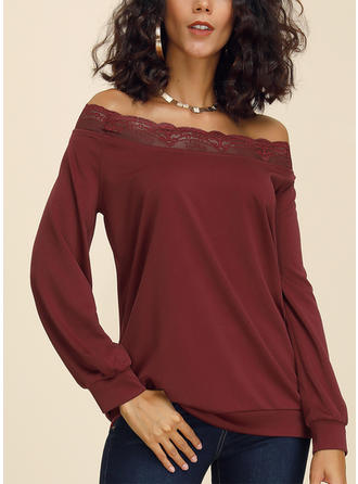 Solid Lace Off the Shoulder Long Sleeves Casual Elegant Knit Blouses