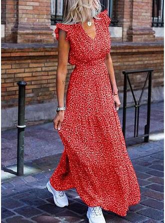 Print/Floral Sleeveless A-line Casual/Elegant Maxi Dresses