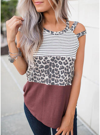 Color Block Leopard Round Neck Sleeveless Casual Tank Tops