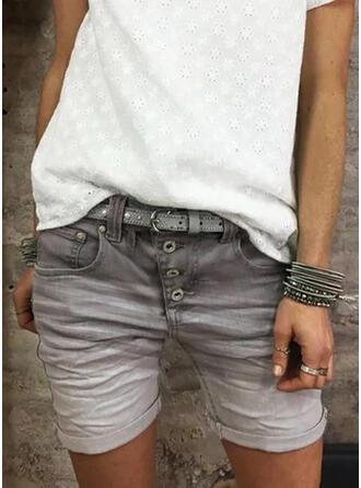 Plus Size Casual Jacquard Denim Shorts Denim & Jeans