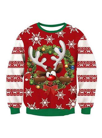 Unisex Baumwollmischungen Drucken Rentier Weihnachts-Sweatshirt