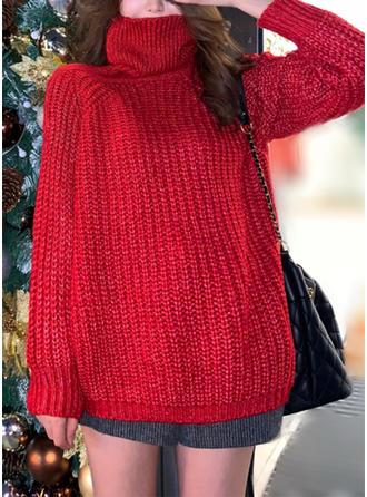 Polyester Col Roulé Couleur unie Gros tricot Chandail de Noël moche