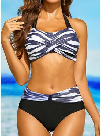 Stripe Splice color V-Neck Strapless Sports Plus Size Casual Bikinis Swimsuits