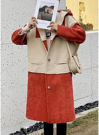 Bawełna Długie rękawy Blok Kolorów Mieszanki Płaszcze
