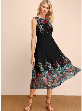 Print/Floral Sleeveless A-line Midi Casual Dresses