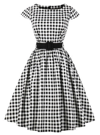 PolkaDot Round Neck Knee Length A-line Dress